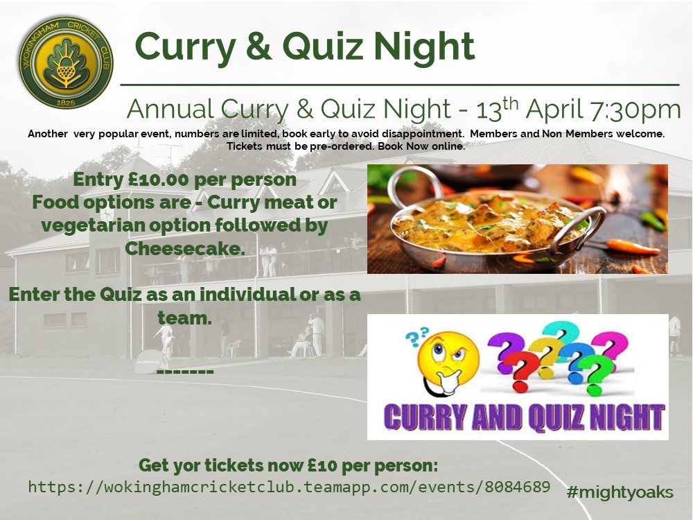 Curry & quiz Night 13th April 2019